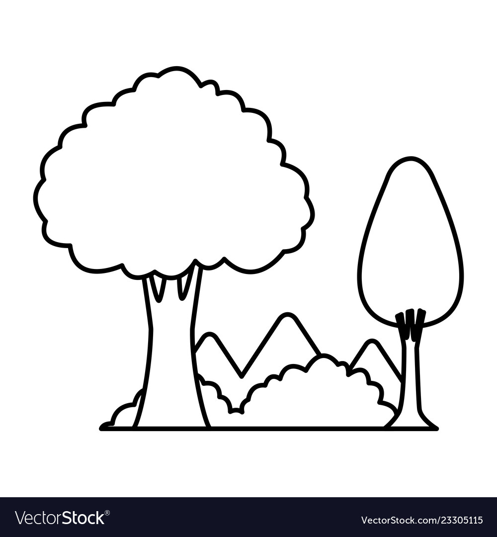 Trees And Mountains In Black And White Royalty Free Vector Black tree silhouette isolated on white background. vectorstock