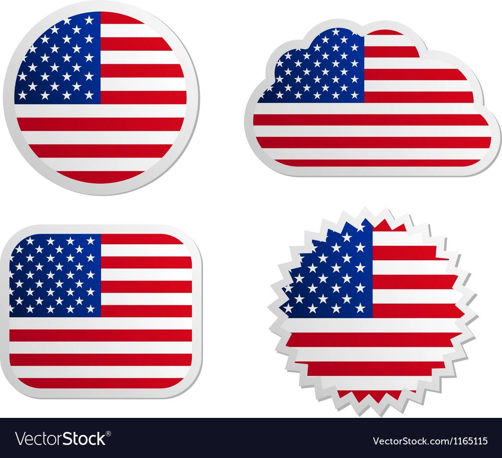 USA flag labels vector image