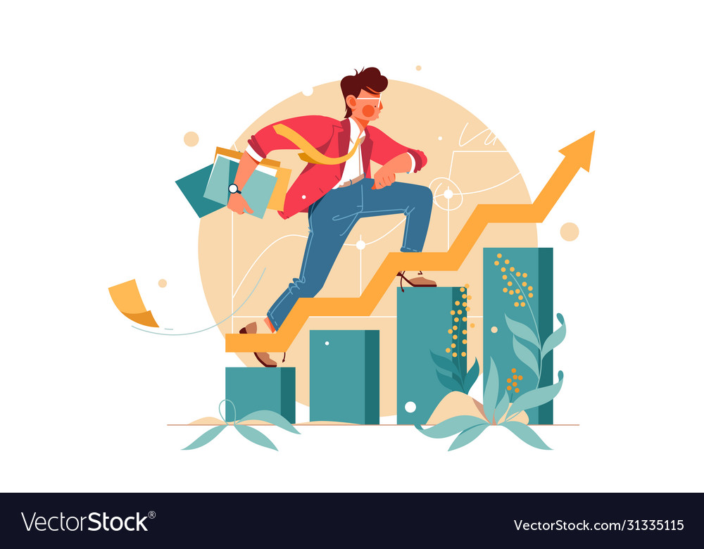 Young man hurry up consisting finance graph