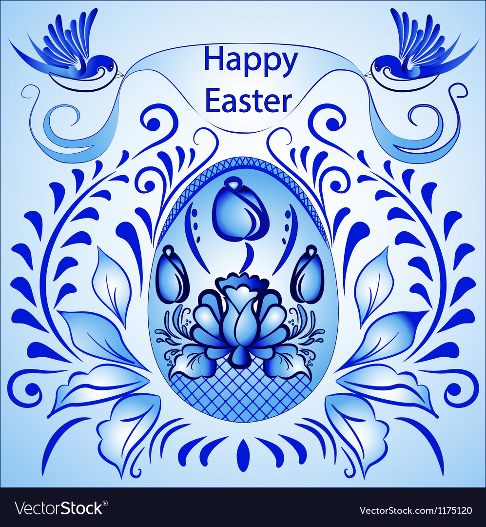 An easter card with eggs with a blue ornament