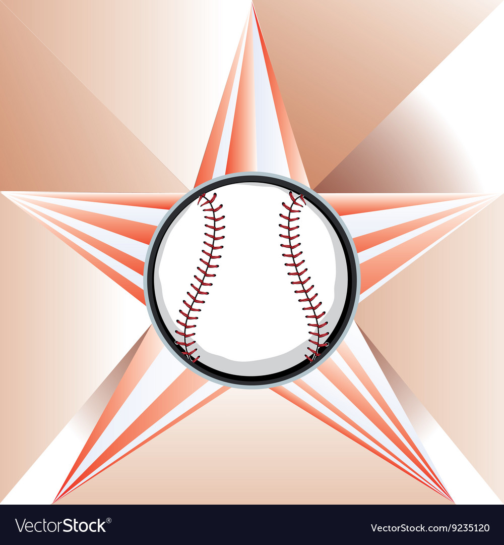 Baseball Ball on Background with Rays vector image