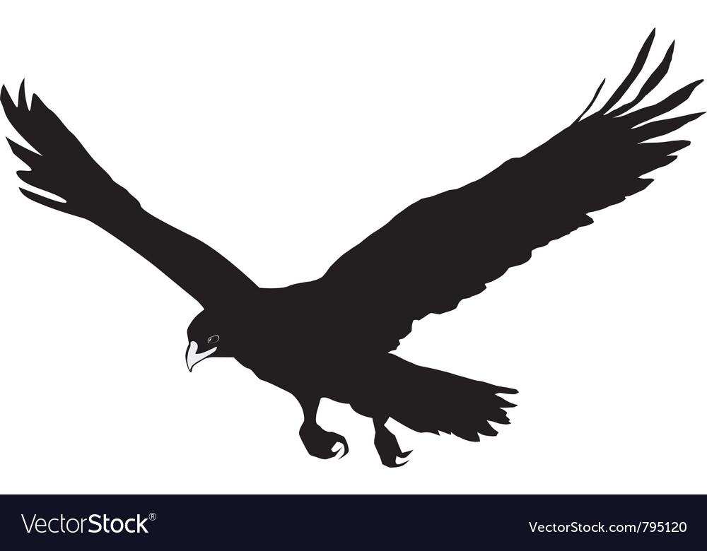 Black silhouette of golden eagle vector image