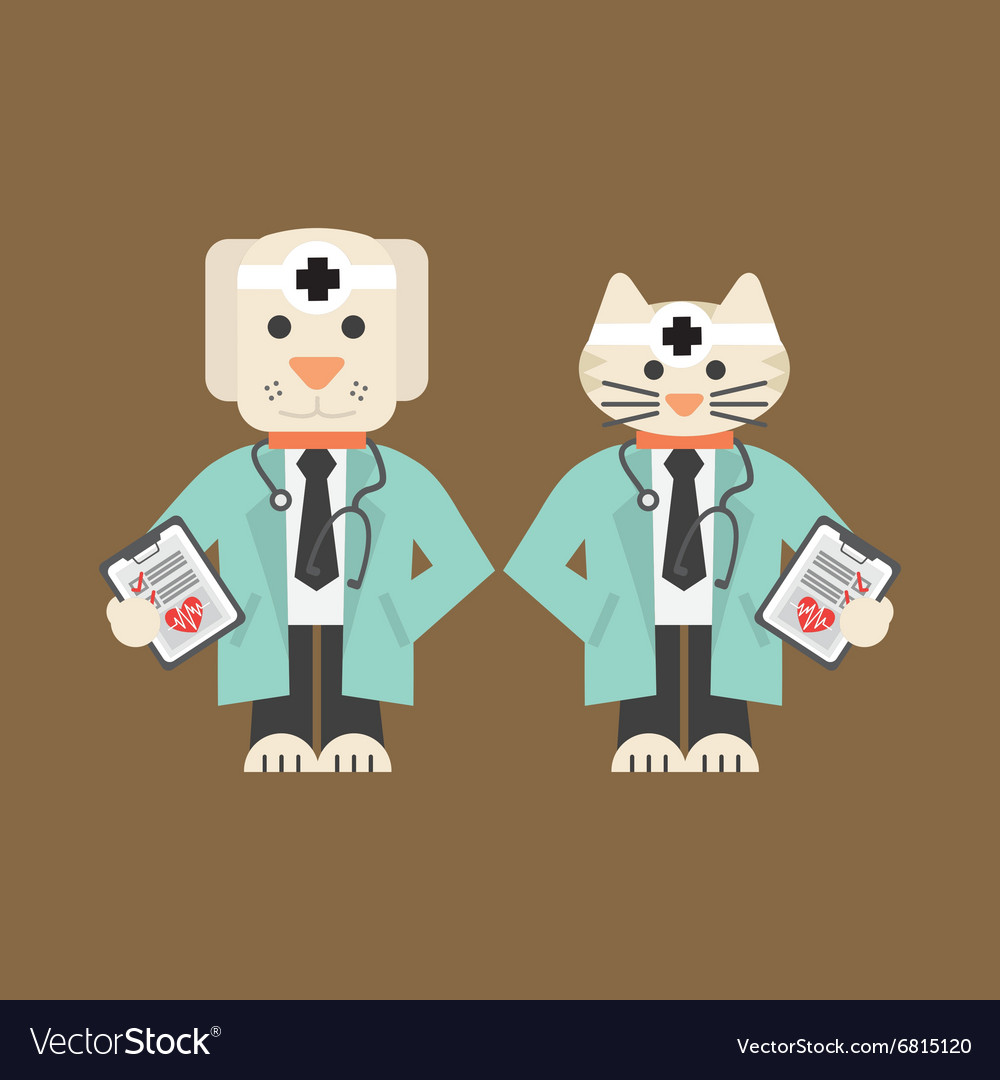 Dog And Cat In Doctor Uniform