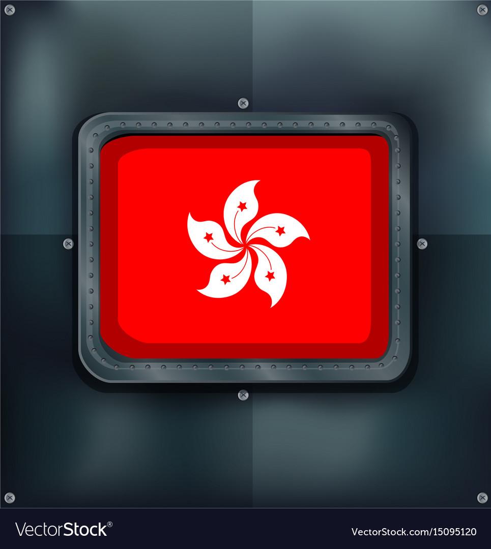 Flag of hongkong on metalic background