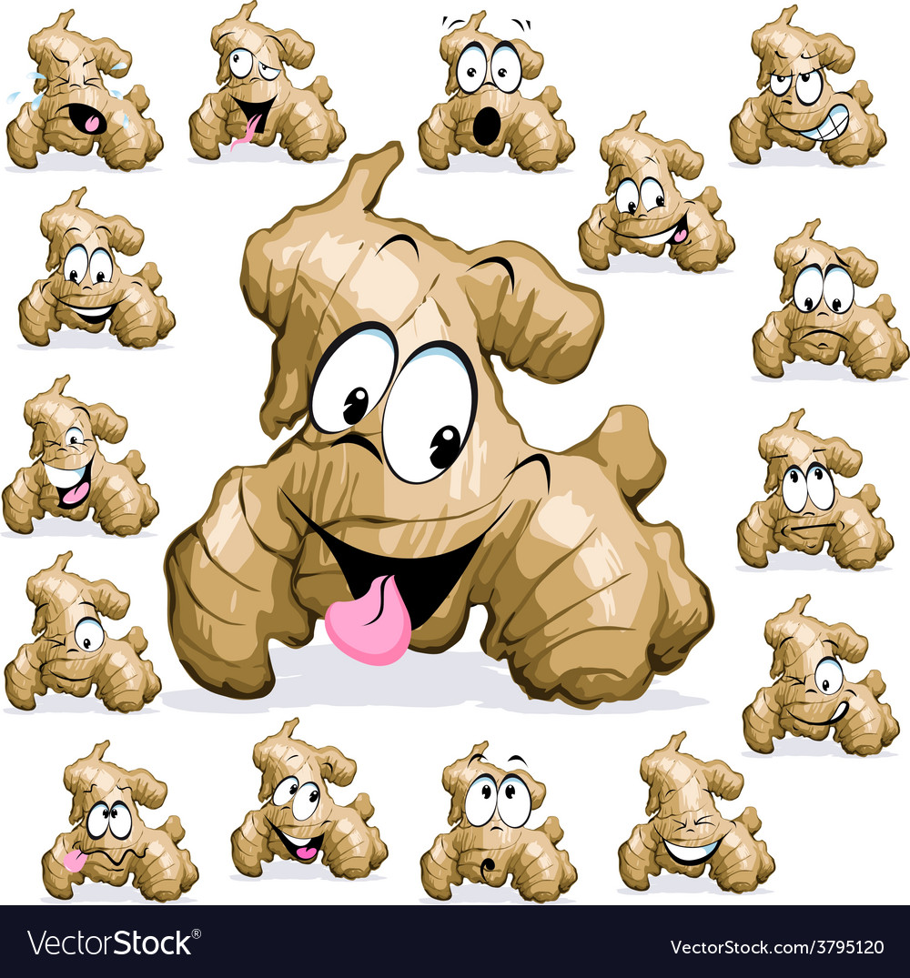 Ginger cartoon with funny face on white background vector image