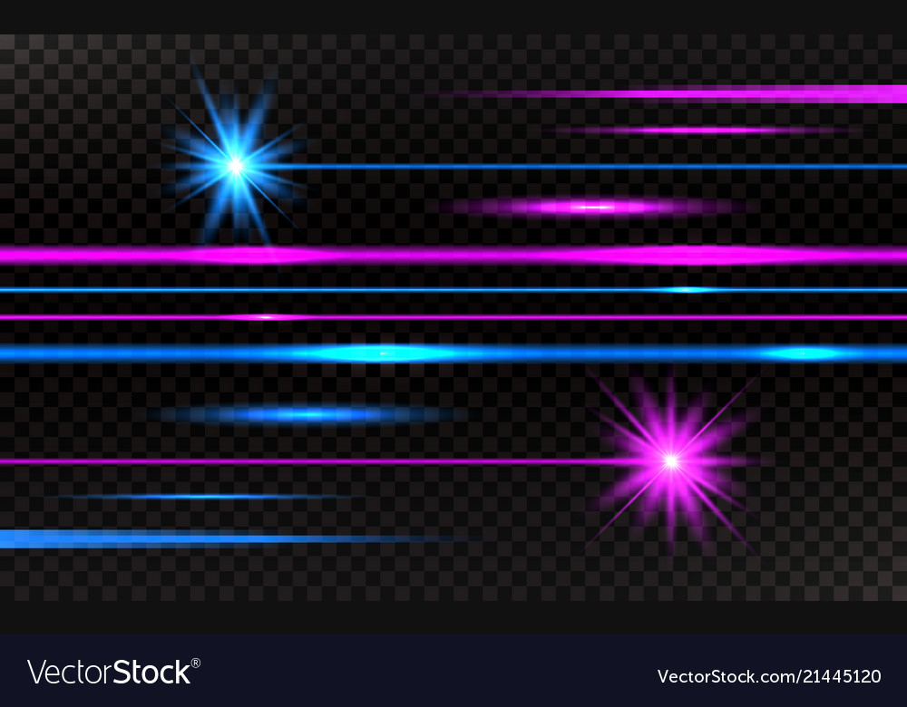 Laser beams set pink and blue horizontal light