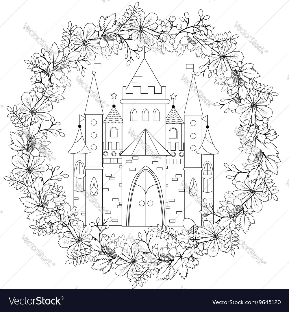 Relaxing Coloring Page With Fairy Castle In Forest