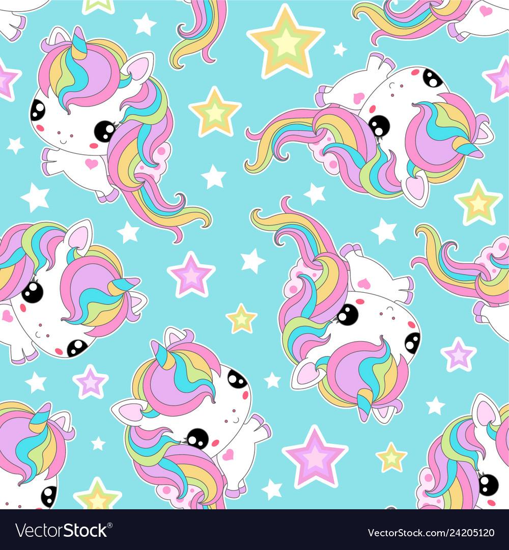 Seamless pattern small white unicorns with stars
