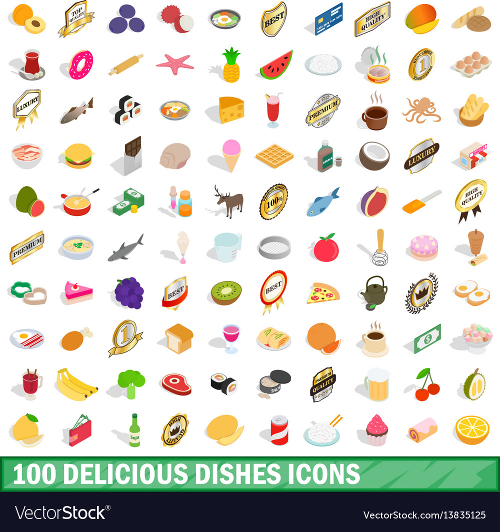 100 delicious dishes icons set isometric 3d style