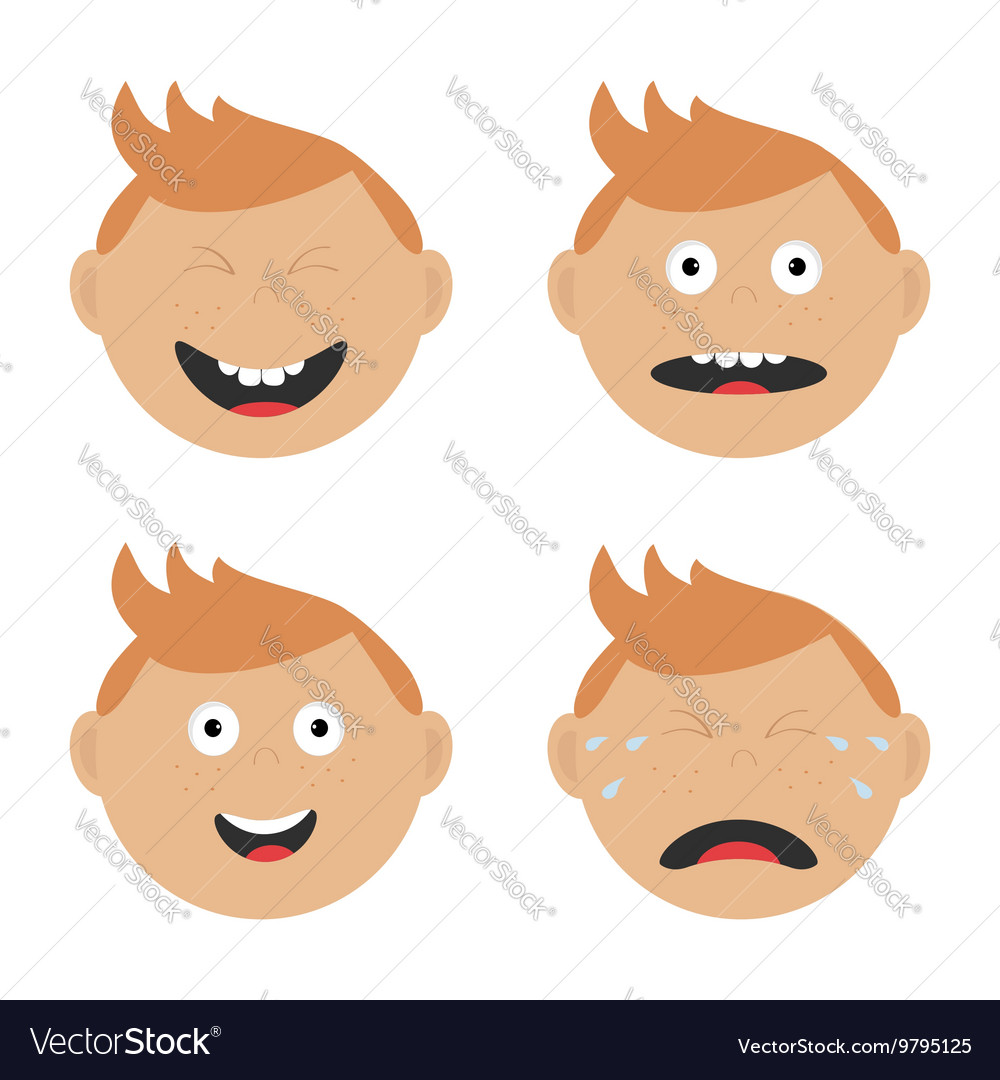 Baby boy face set with different emotions Crying