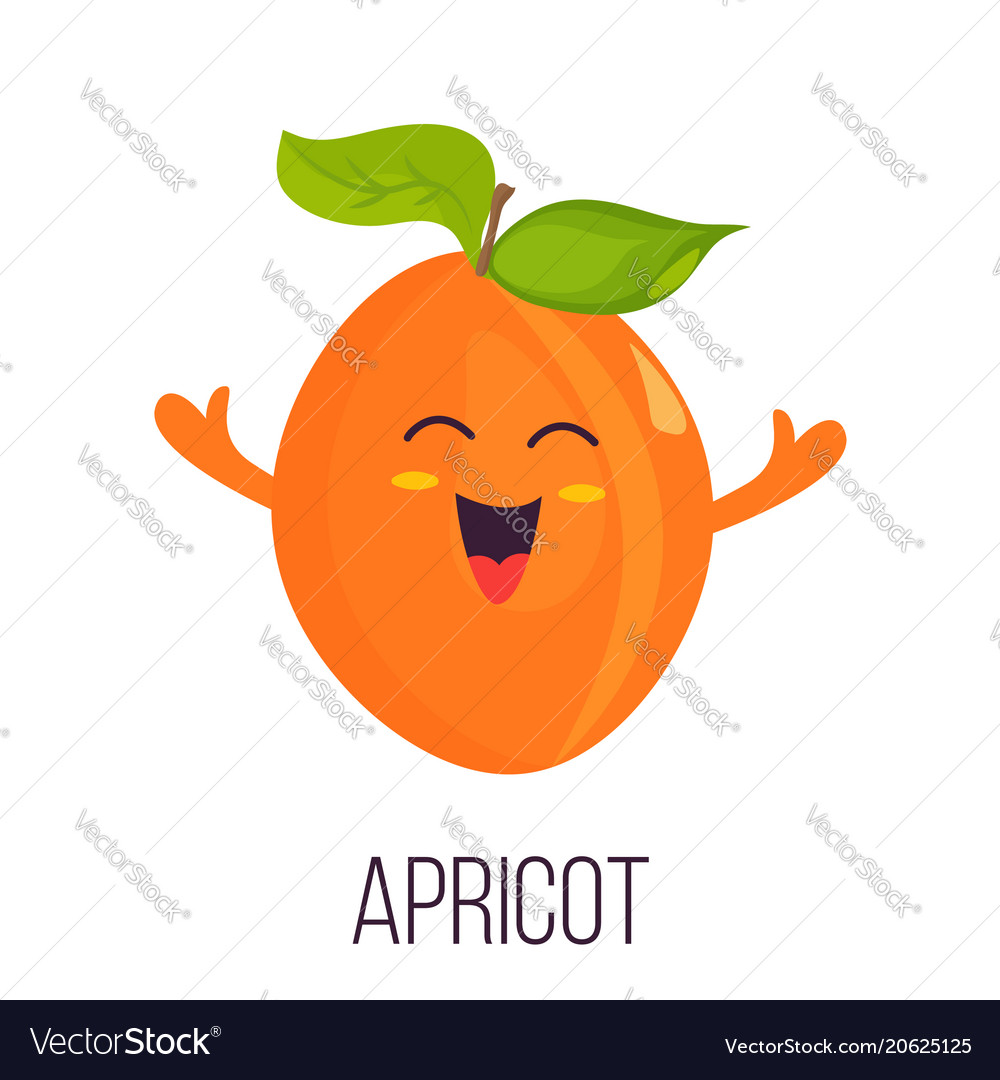 Bright poster with cute laughing apricot