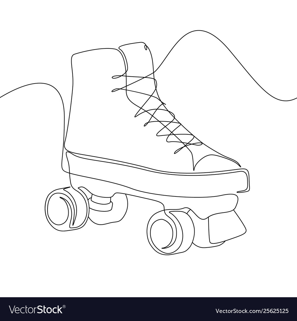 Continuous one line drawing roller skate sport