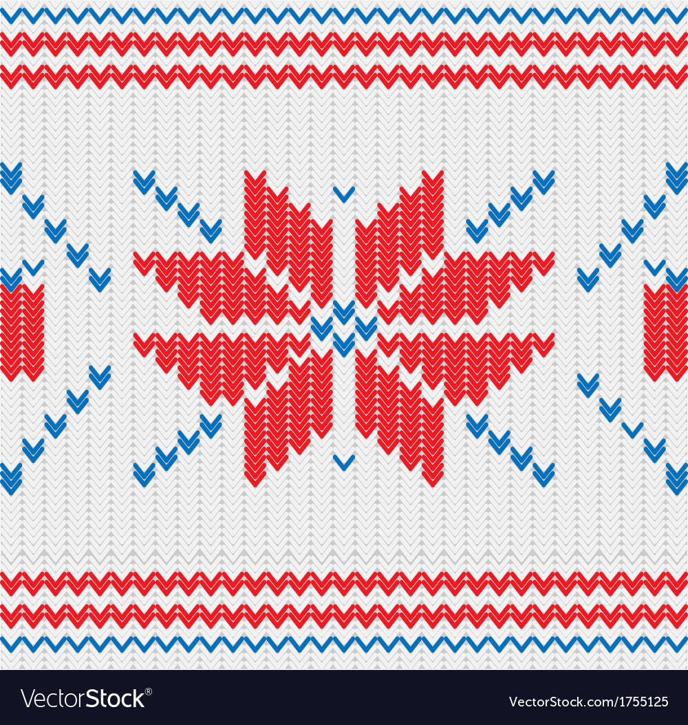 Knitted pattern with a snowflakes Royalty Free Vector Image