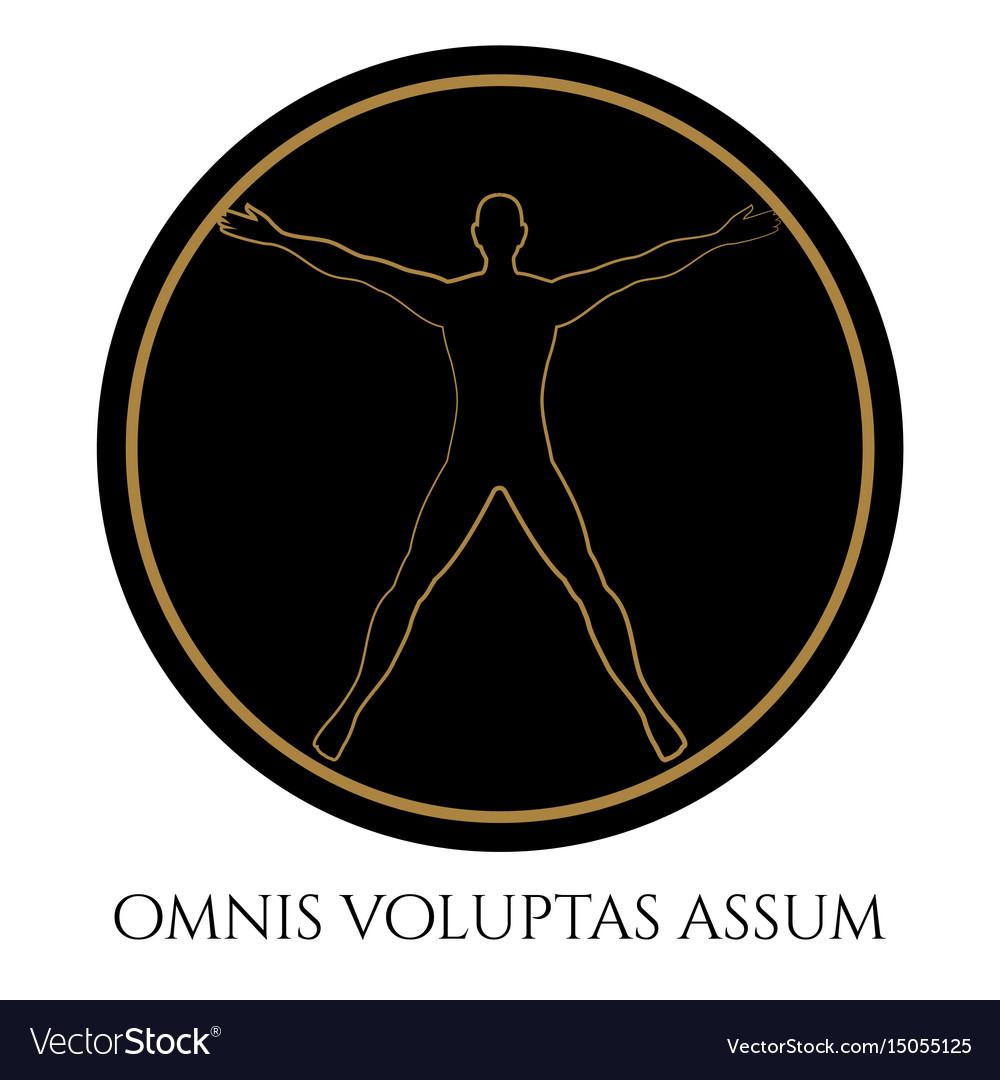Modern vitruvian man silhouette design