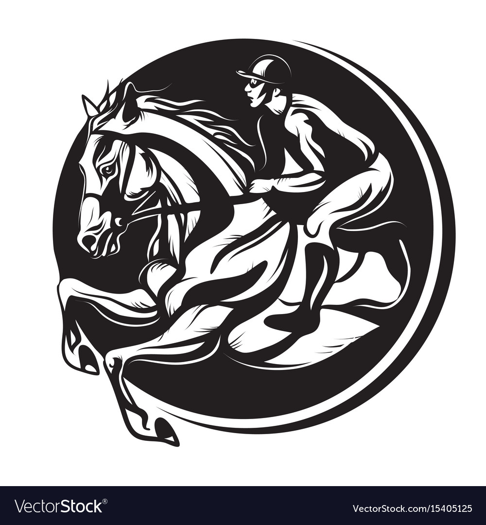 Outline of indian ink horse riding riding horse