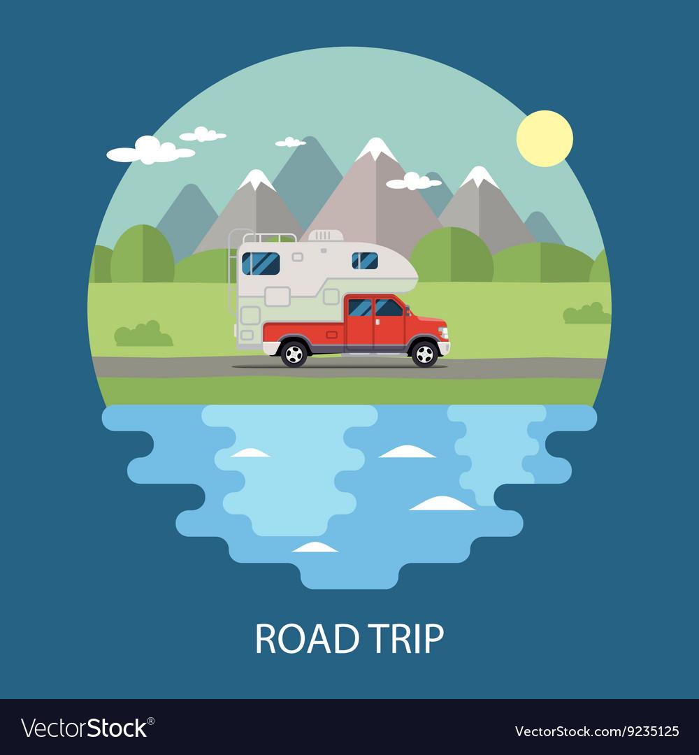 Road trip flat design camper