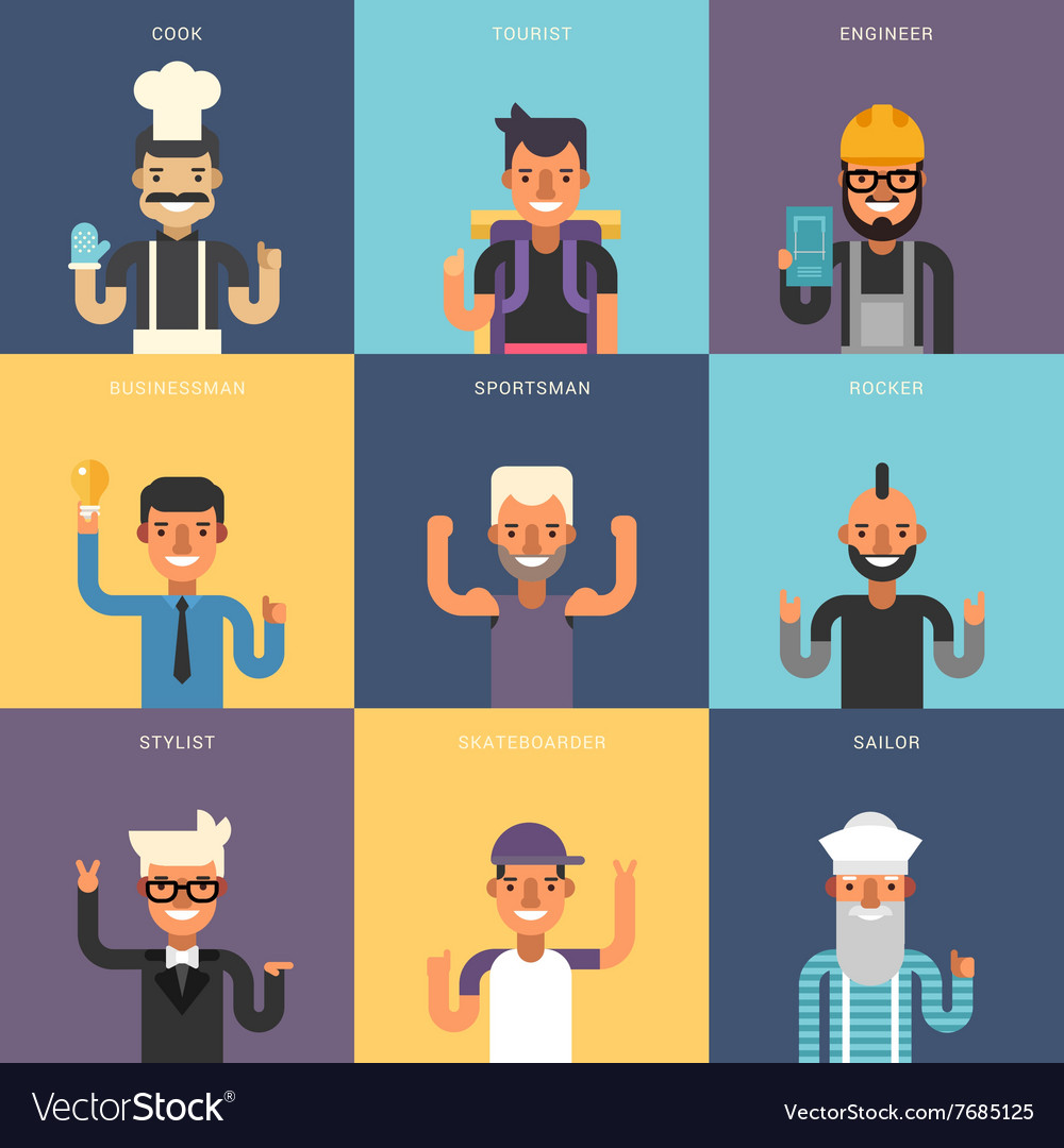 Set of Flat Design Professional People Characters