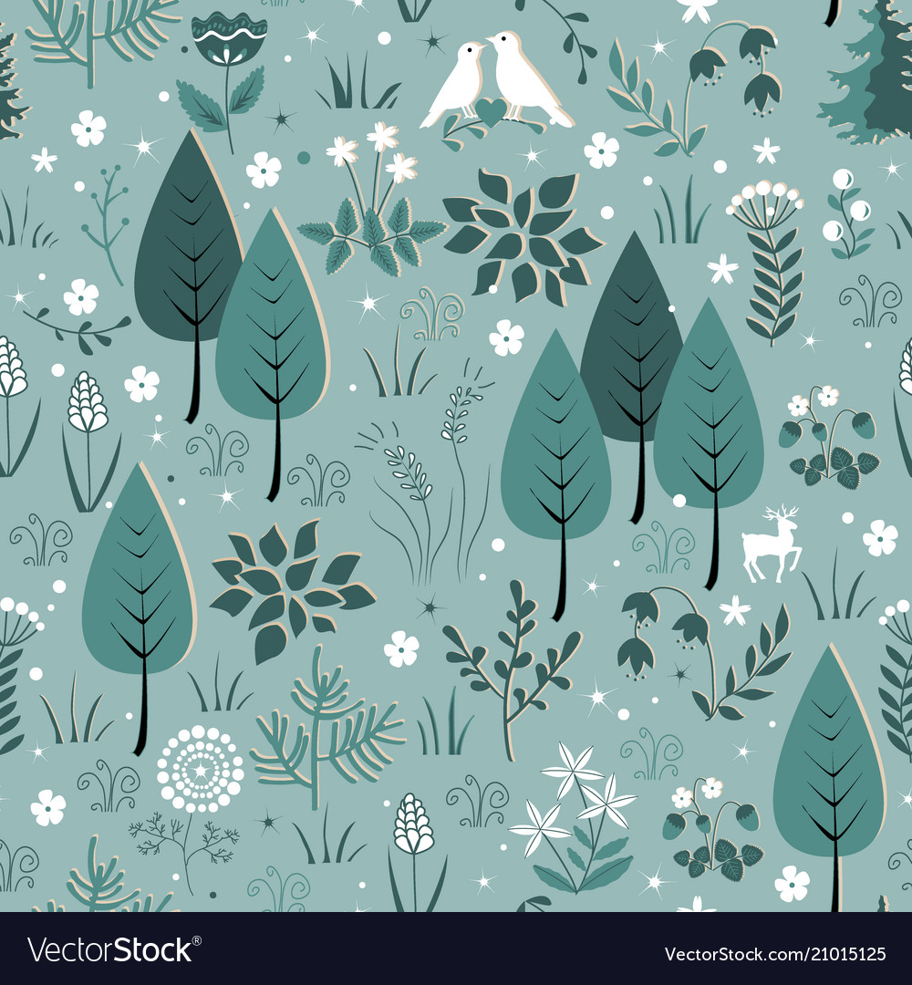 Spring pattern with birds flowers and trees