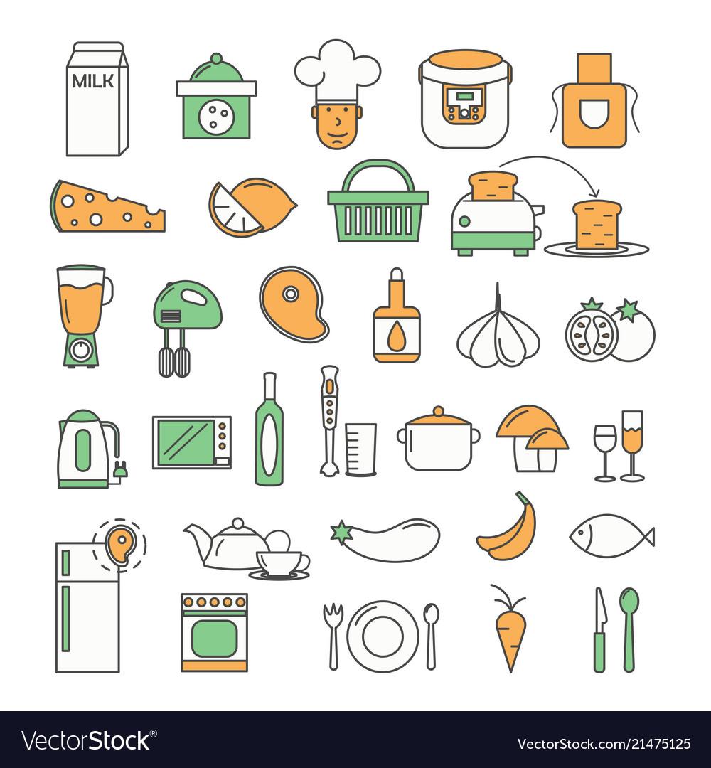 Thin line art style design food icon set