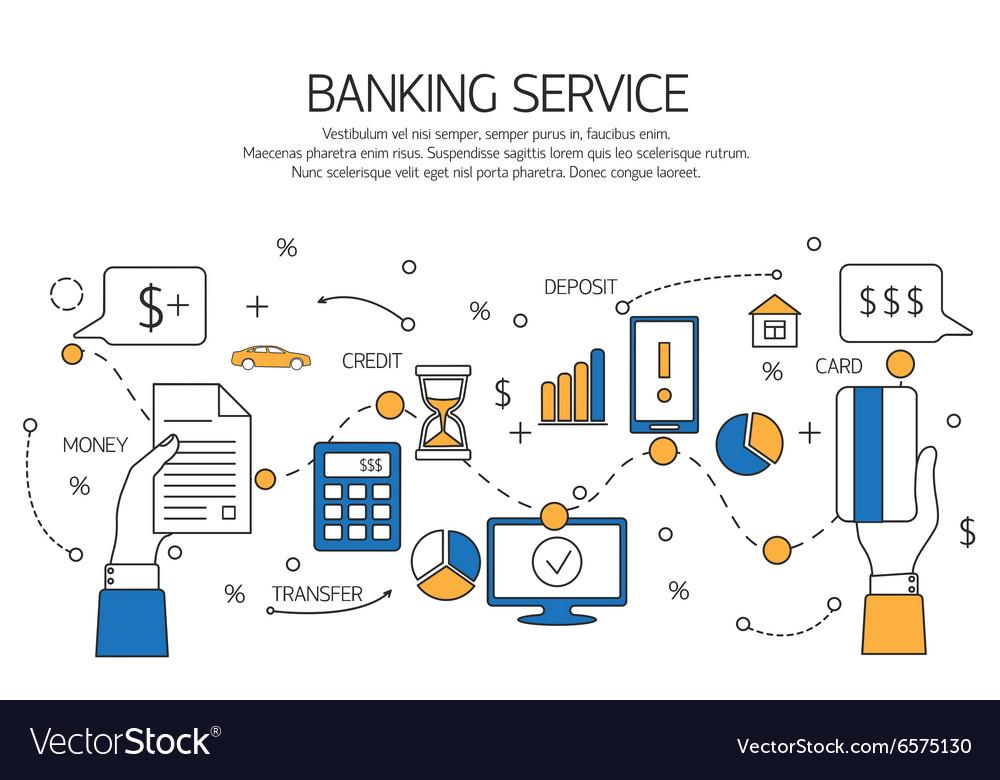 Banking service outline concept deposit credit