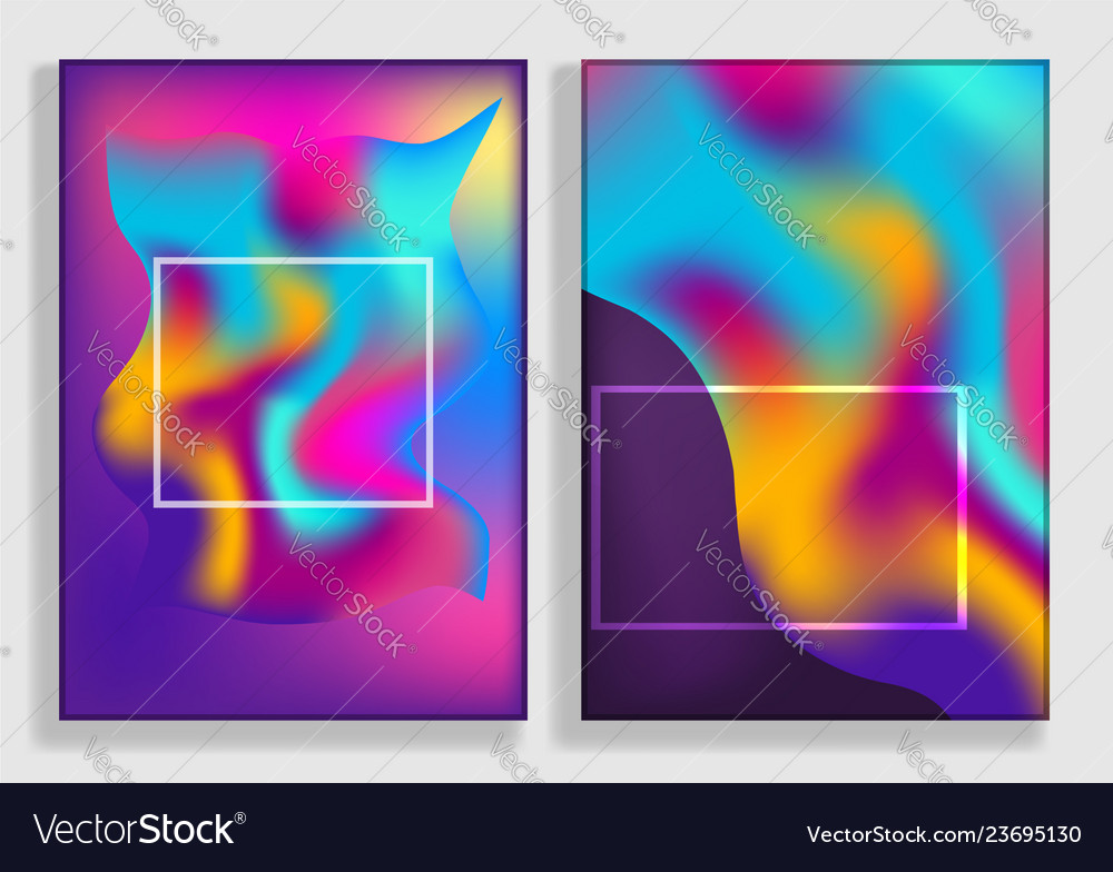 Bright abstract vibrant gradient backgrounds set
