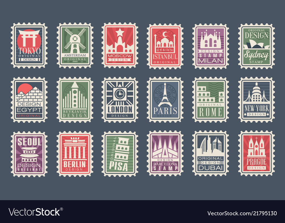 Collection of stamps from different countries with