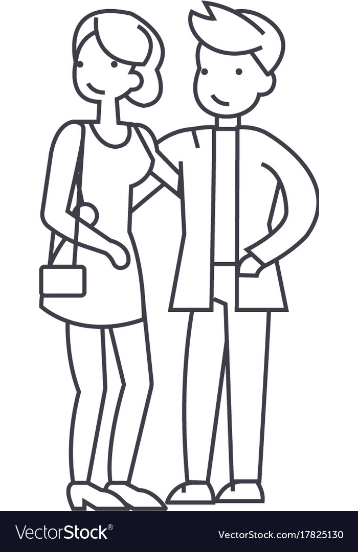 Couple in love happy party line icon sign vector image