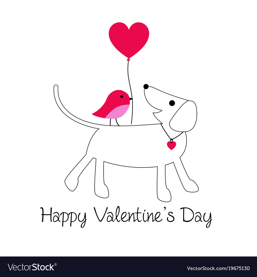 Cute dog and bird valentine with baloon