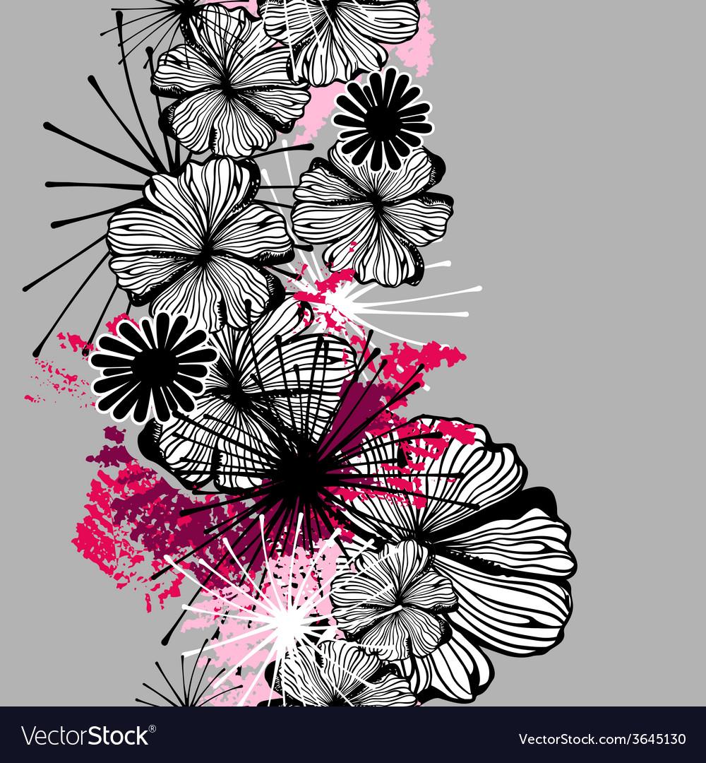 Doodle seamless flower ink pattern