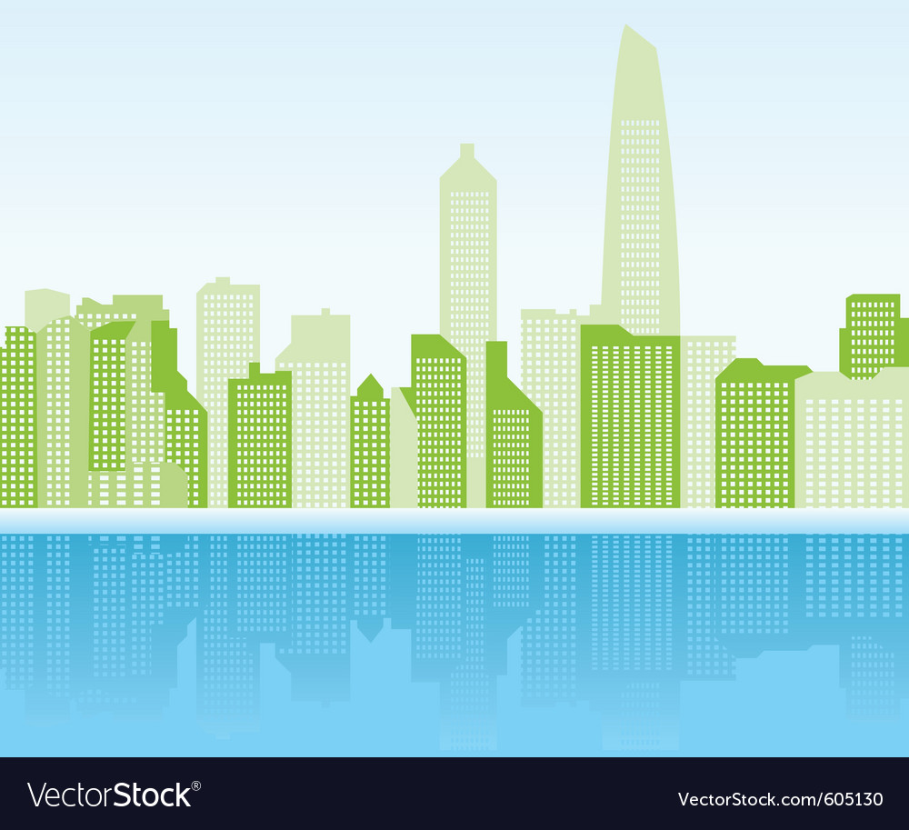 Green city background - shanghai vector image