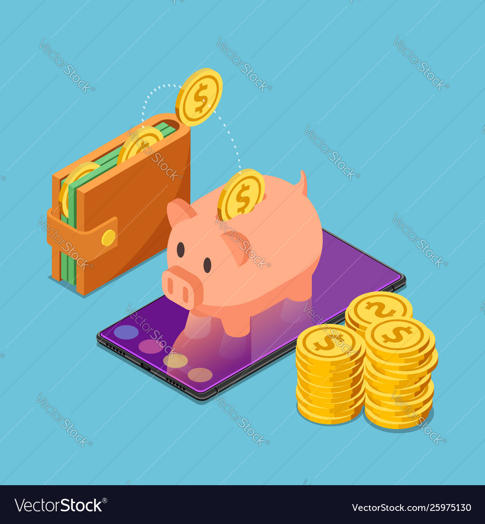 Isometric piggy bank on smartphone with wallet
