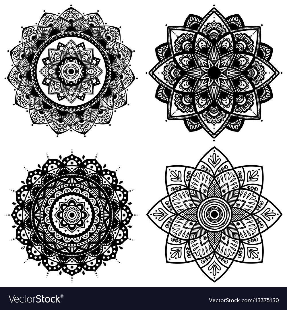 Mandala set indian antistress medallion abstract