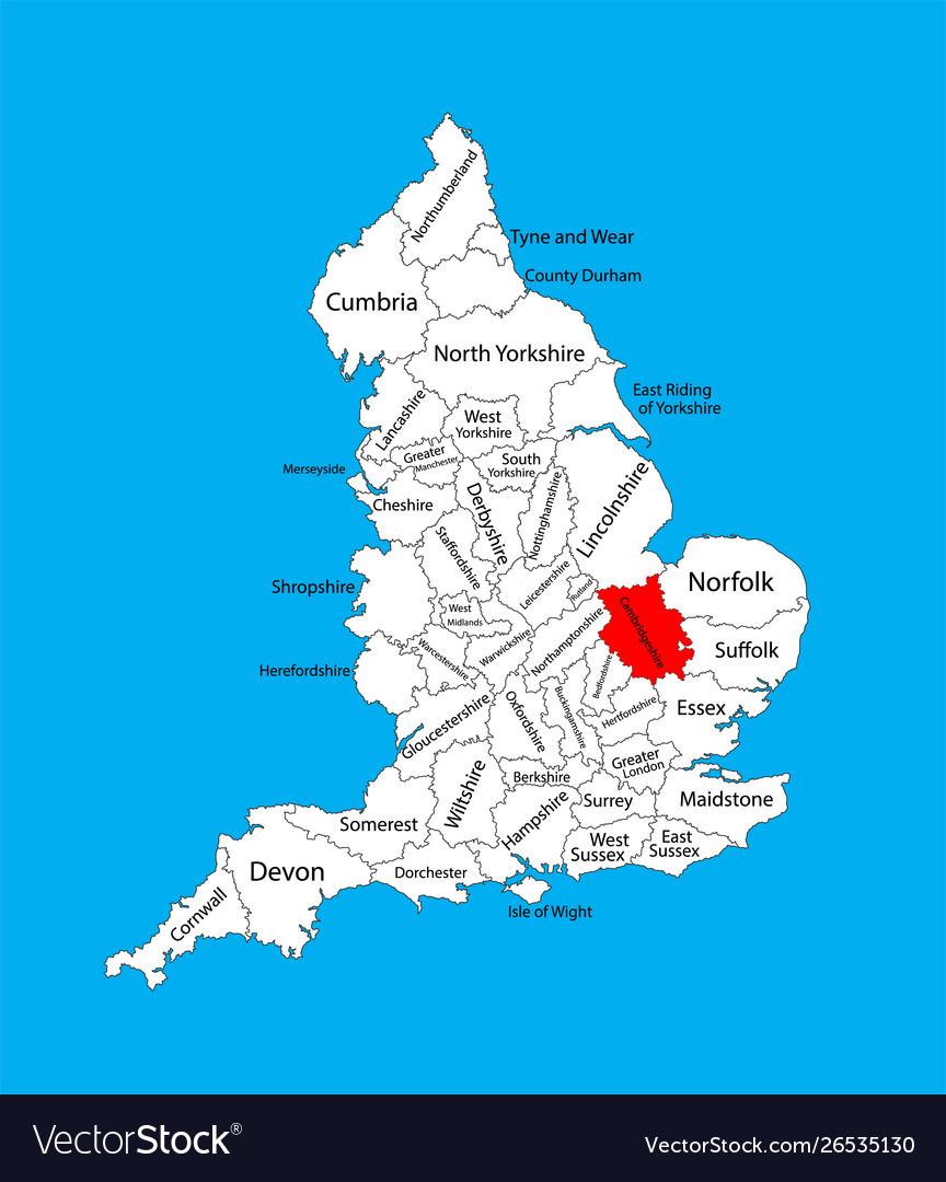 Map East Of England.Map Cambridgeshire East England United Kingdom