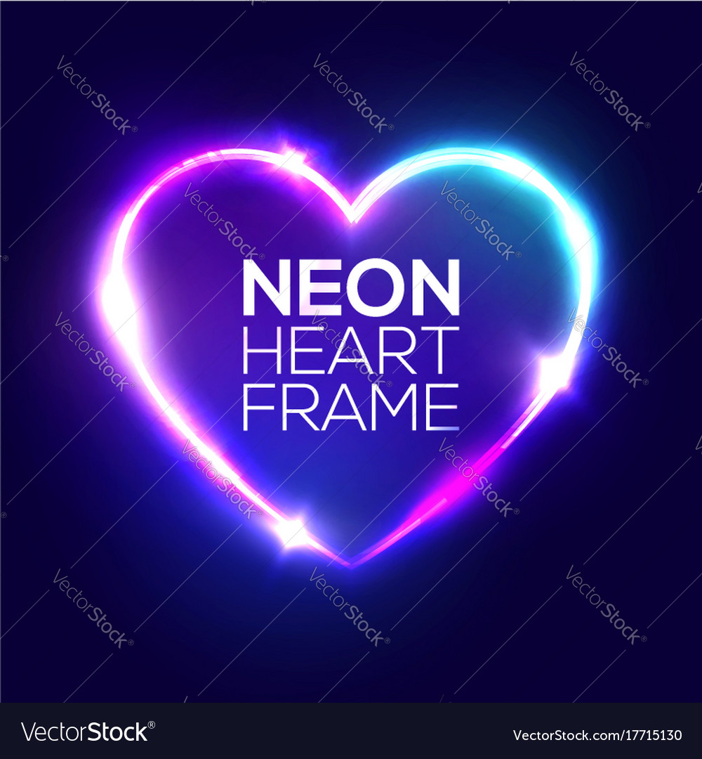 Night club neon heart sign 3d retro light frame vector image