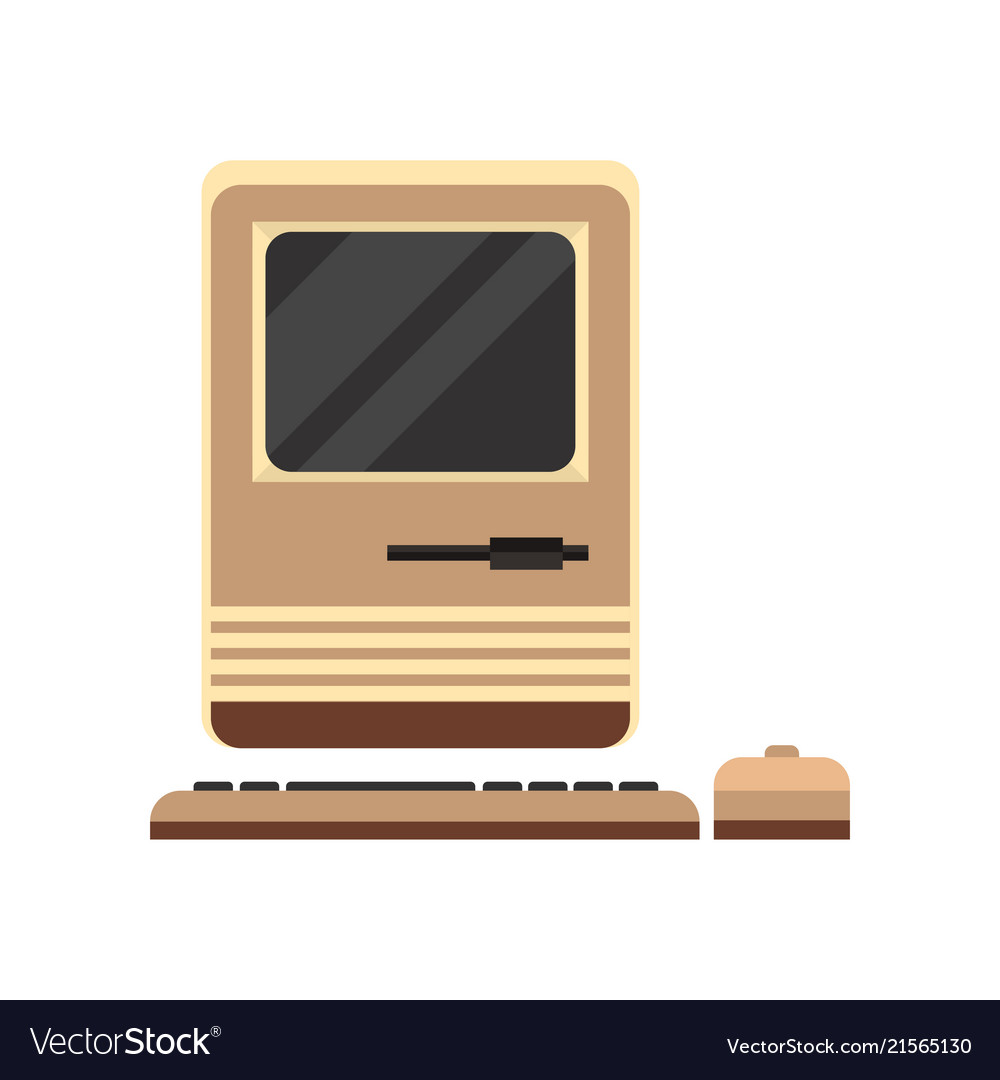 Old personal computer woth mouse retro pc