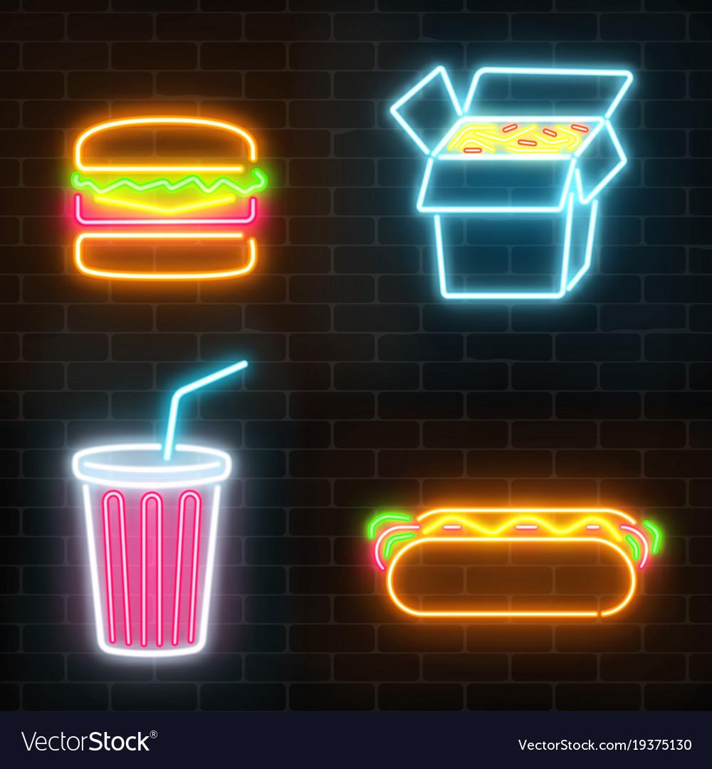 Set of fast food neon signs ona dark brick wall vector image aloadofball Images