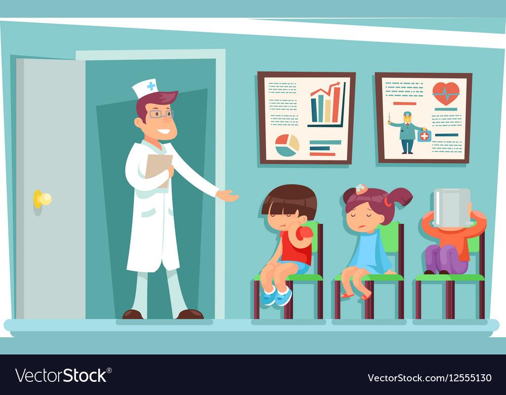 Sick children at doctor sitting on chairs cartoon