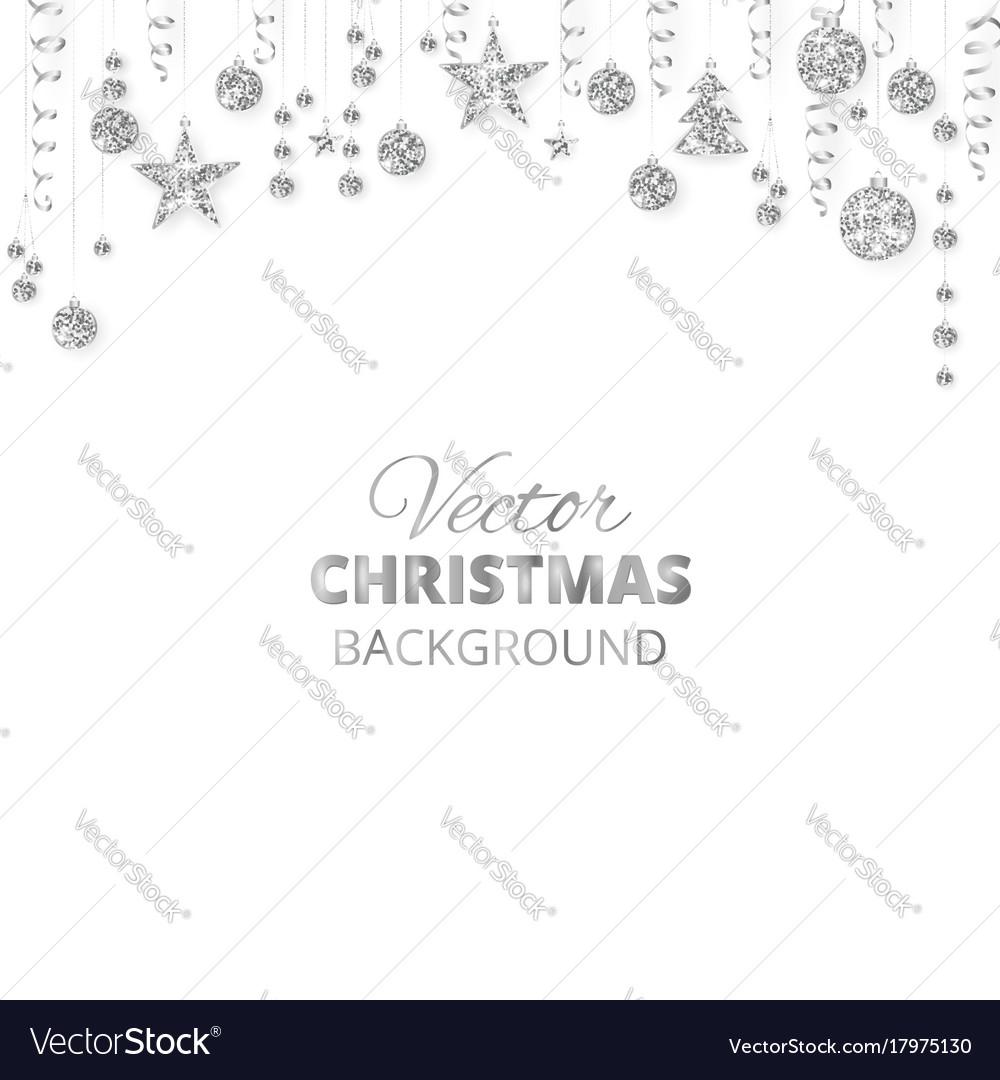 Sparkling christmas glitter ornaments silver