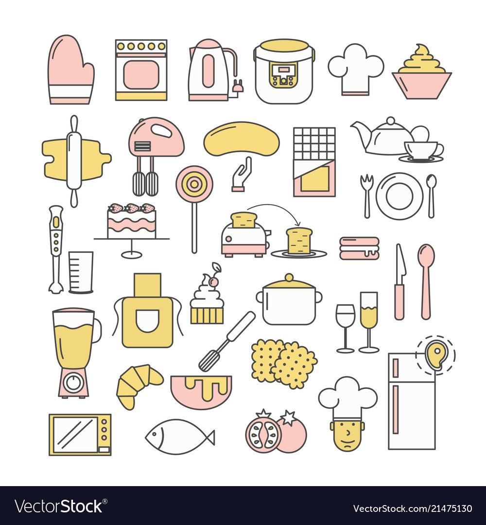 Thin Line Art Style Design Kitchen Icon Set