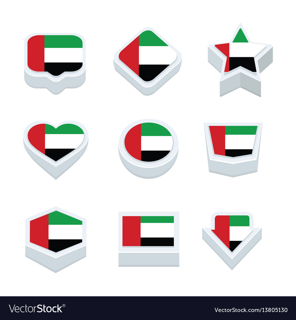 United arab emirates flags icons and button set