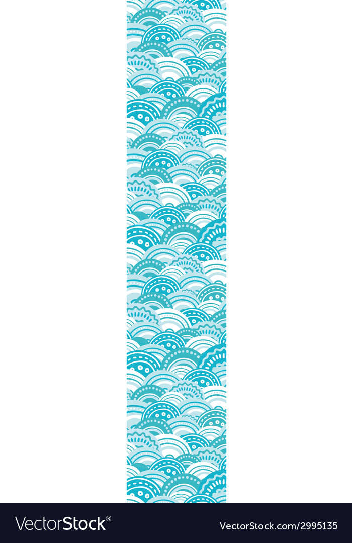 Abstract blue waves vertical border seamless