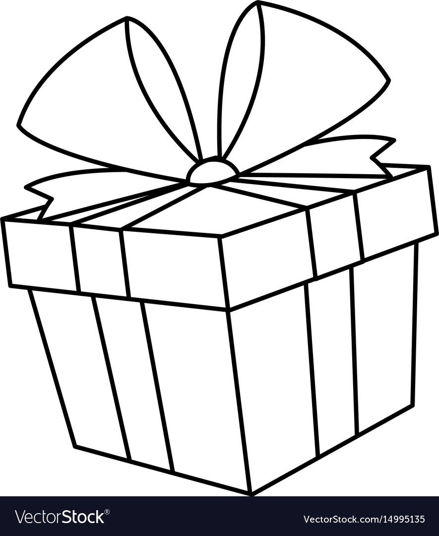 Christmas Gift Box Drawing.Christmas Gift Box Bow Decoration Icon
