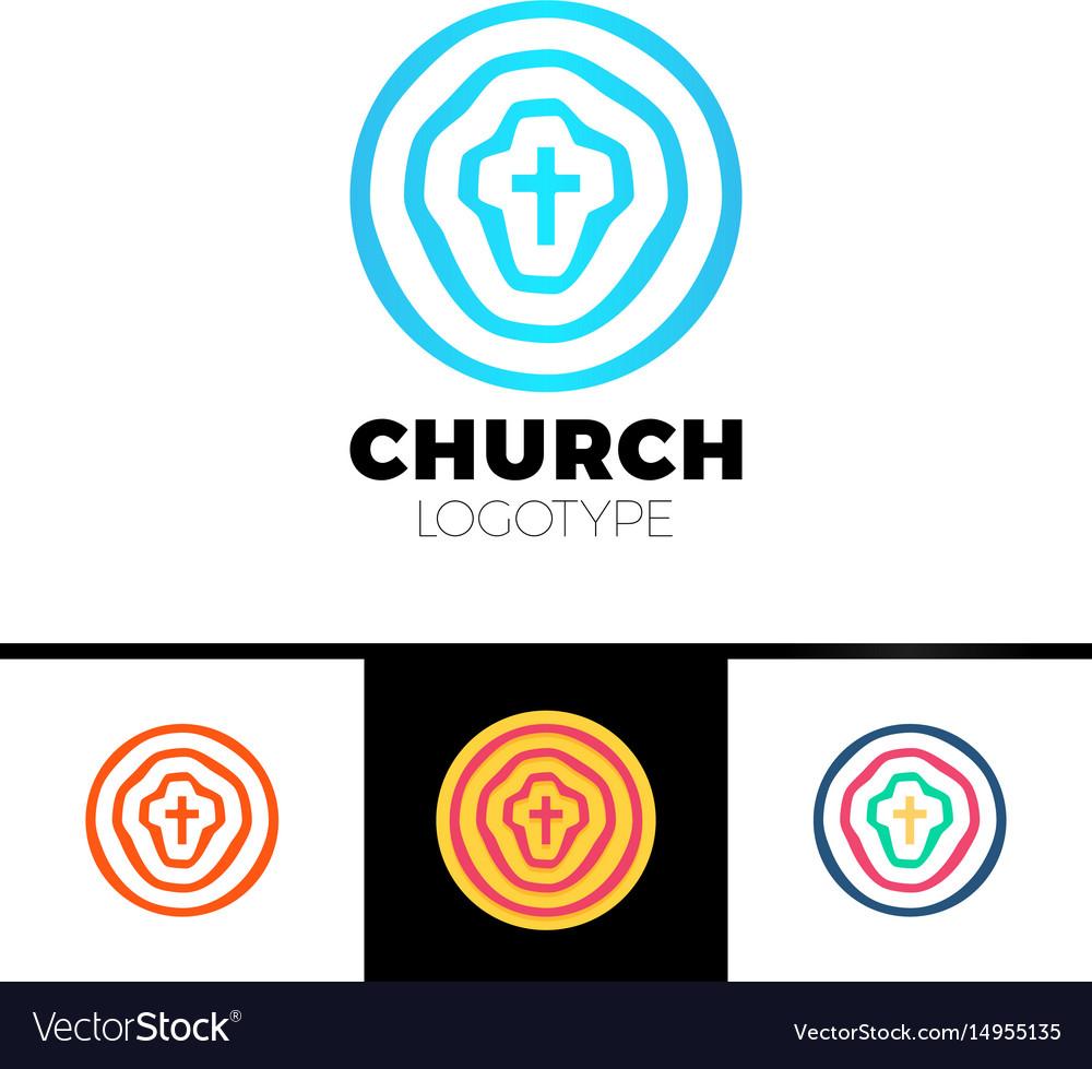 Church logo christian symbols circles target vector image
