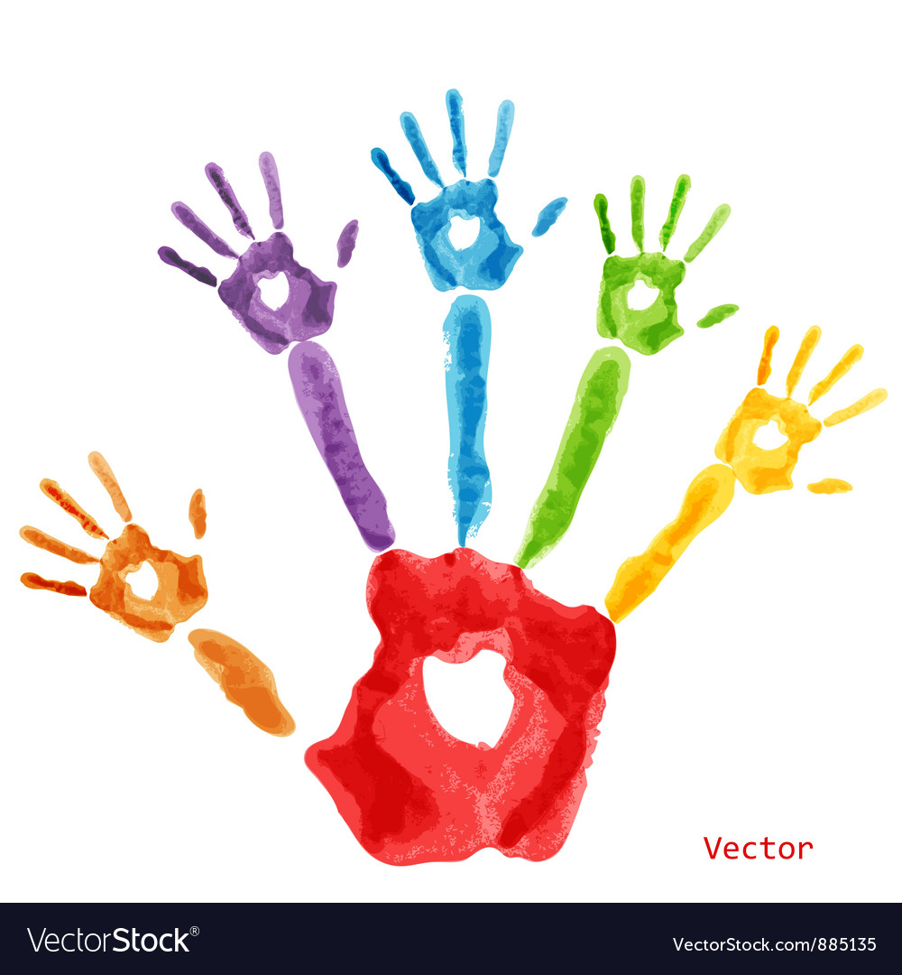 colourful handprint paint royalty free vector image