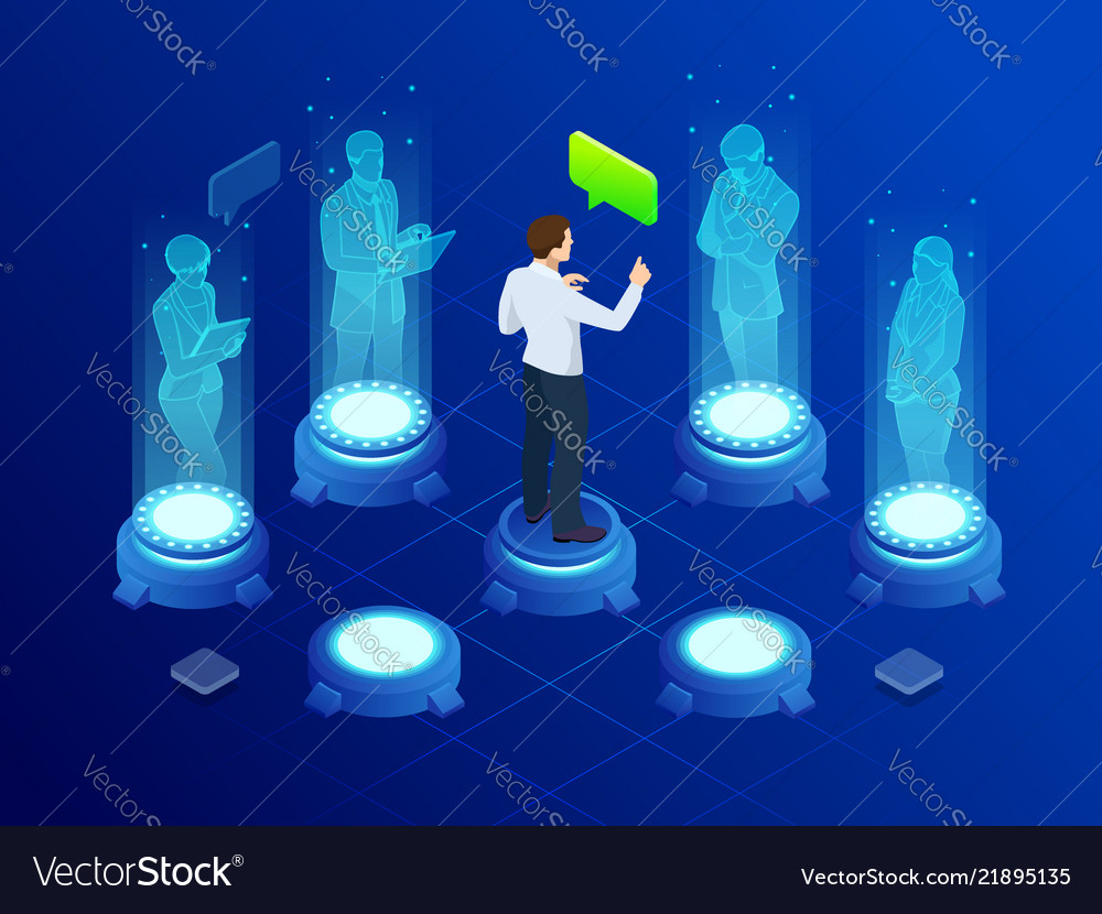Isometric man communicates with abstract