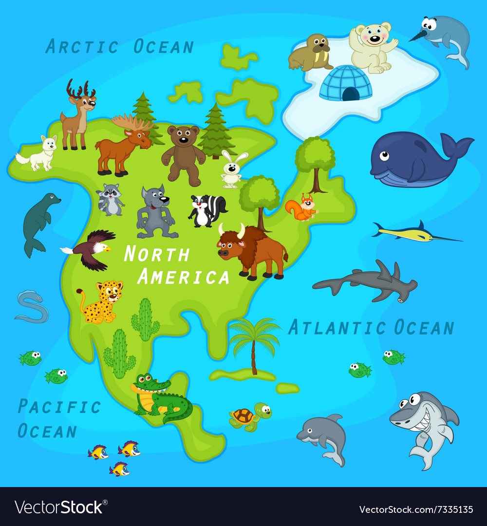 Picture of: Map Of North America With Animals Royalty Free Vector Image