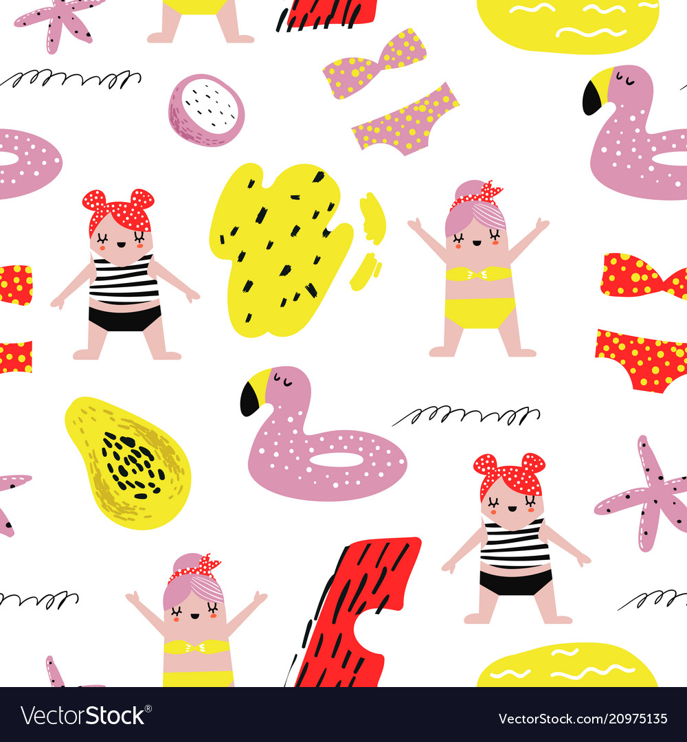 Summer childish seamless pattern with cute girls vector