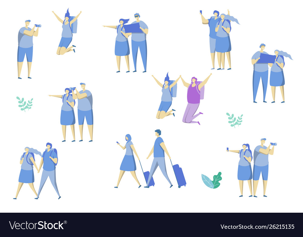 Travel couple icon set flat isolated