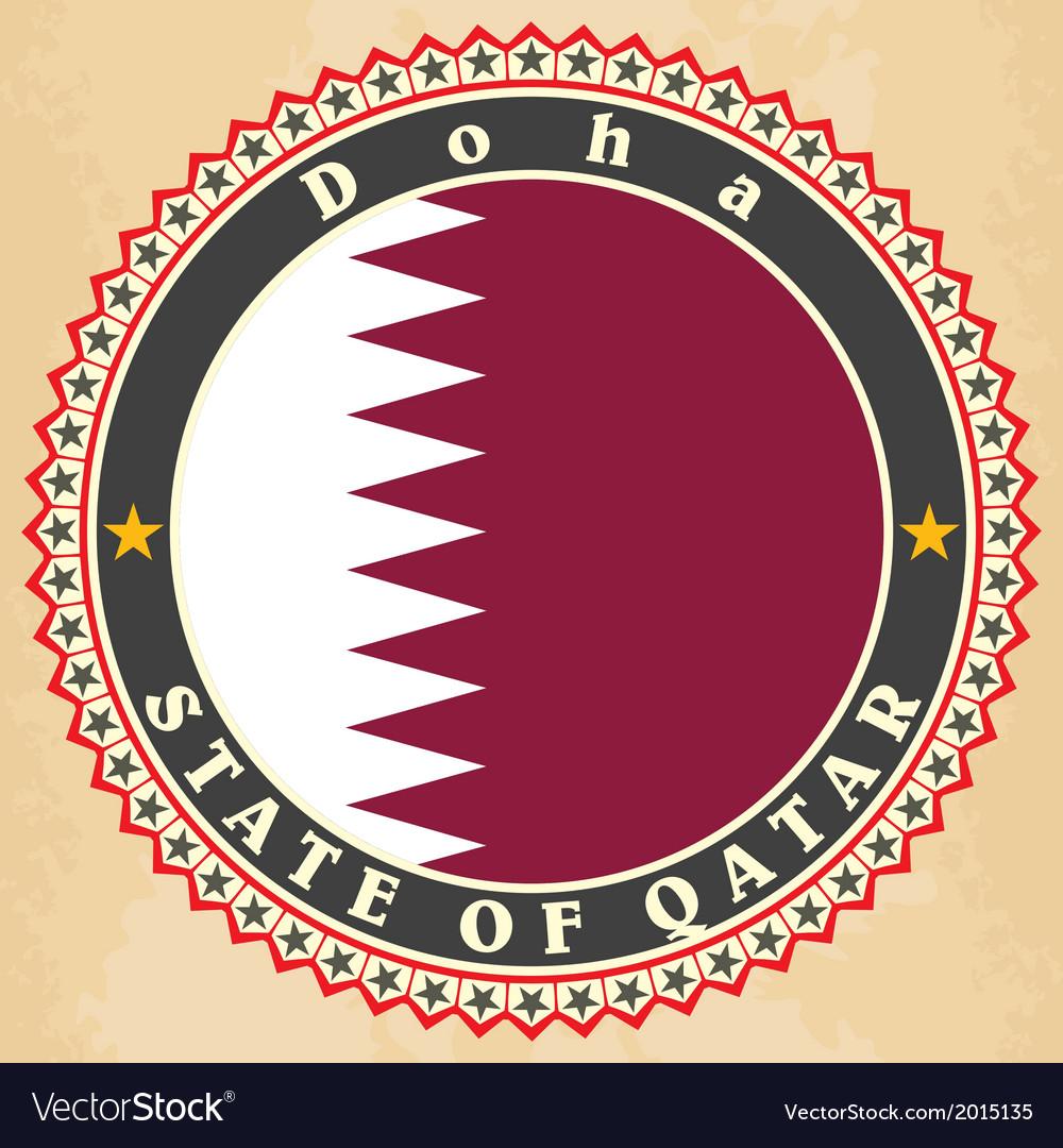 Vintage label cards of Qatar flag