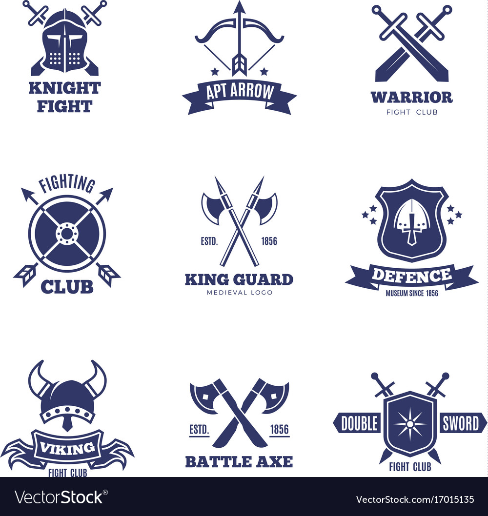Vintage warrior sword and shield labels knight